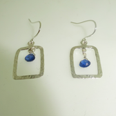 silver rectangle drop earrings with kyanite