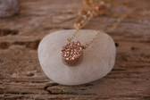 Titanium Rose Gold Drusy Drop Pe!ndant Necklace 14k Gold-filled