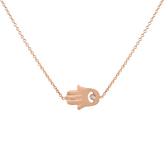 14 karat sideway hamsa necklace