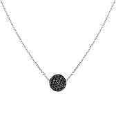 14 karat white gold black diamond pave disc pendant