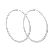 Sterling Silver Large Hammered Hoop