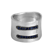 Wide Sterling Silver Band With Pave Sapphires