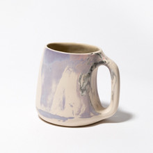 Pink, purple, black and white marbled mug