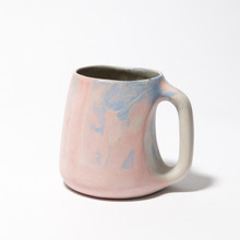 Pink, blue and white marbled mug