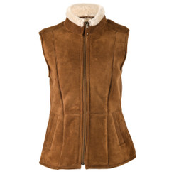 Suede And Sheepskin Gilet - Cognac