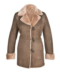 Sheepskin Coat - Anna (Mushroom and Tan)