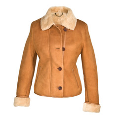 Ladies Short Sheepskin Jacket - Jenny (Tan)