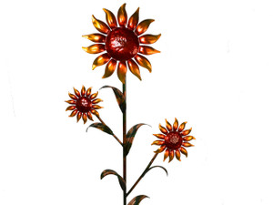 "Copper Sunflower - Triple Bloom - 48"" Tall - Oversized Item - CONTACT US FOR SHIPPING & ORDER INFO."