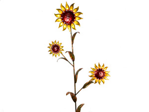 "Copper Sunflower - Triple Bloom - 72"" Tall - Oversized Item - CONTACT US FOR SHIPPING & ORDER INFO."