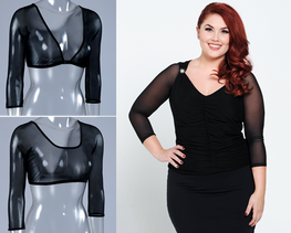 Basic 3/4 Length Black Mesh Sleevey Wonders - Plus Size