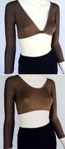 Basic 3/4 Sleeve Brown Jersey Sleevey Wonders - Plus Size