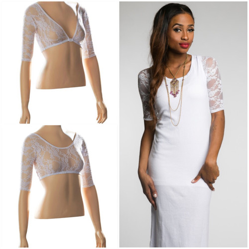 Sleevey Wonders has taken your favorite Basic Lace and made it shorter and cooler for Summer! Beautiful arm coverage - under sleeves that you can wear with either the low side or the high side in front or back! Cover your arms without covering your outfit, or getting too hot!