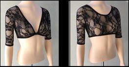 Basic 1/2 Sleeve Black Lace Sleevey Wonders - Plus Size