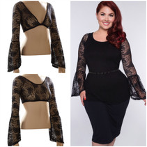 Long Bell Sleeve Black French Paisley Lace Sleevey Wonders - Plus Size