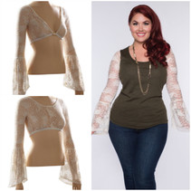 Long Bell Sleeve Ivory French Paisley Lace Sleevey Wonders - Plus Size