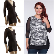 Sleevey Black Mesh Tunic Sleevey Wonders - Plus Size