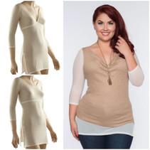 Sleevey Ivory Mesh Tunic Sleevey Wonders - Plus Size