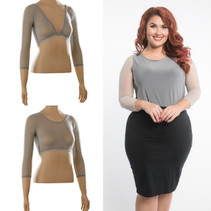 Basic 3/4 Length Silver Mesh Sleevey Wonders - Plus Size