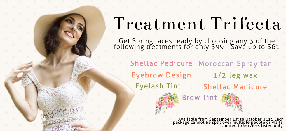 South Yarra Beauty Treatment Trifecta waxing tinting eyebrow brows design shellac pedicure manicure