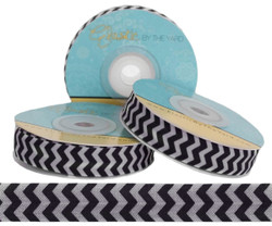 Gray and Black Chevron Print Fold Over Elastic