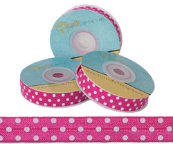 Hot Pink with White Polka Dots Fold Over Elastic