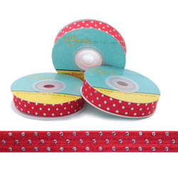 "Silver Metallic Dots on Red 5/8"" Fold Over Elastic"