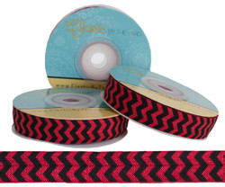 Red and Black Chevron Fold Over Elastic