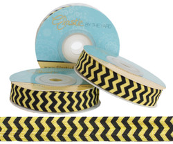 Yellow and Black Chevron Fold Over Elastic