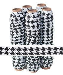 Black on White Houndstooth Printed Fold Over Elastic