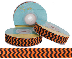 Orange and Black Chevron Fold Over Elastic