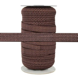 Brown with Small Pink Dots Fold Over Elastic 100yd