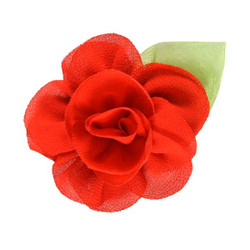 "2.25"" Blossom Flower with Leaf Red"