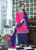 Elegant & Vibrant Pink Colored Designer Cotton Suit