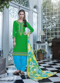 Elegant & Vibrant Green Colored Premium Cotton Suit