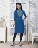 Vibrant & Trendy Blue Colored Embroidery Work Rayon Kurti