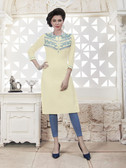 Vibrant & Trendy Off white Colored Embroidery Work Rayon Kurti