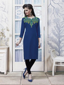 Vibrant & Trendy Deep Blue Colored Embroidery Work Rayon Kurti
