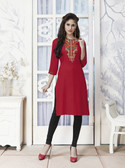 Vibrant & Trendy Red Colored Embroidery Work Rayon Kurti