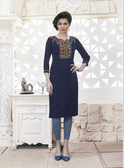Vibrant & Trendy Deep Blue Colored Embroidery Work Rayon Fabric Kurti
