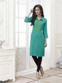 Vibrant & Trendy Light Blue Colored Embroidery Work Rayon Kurti