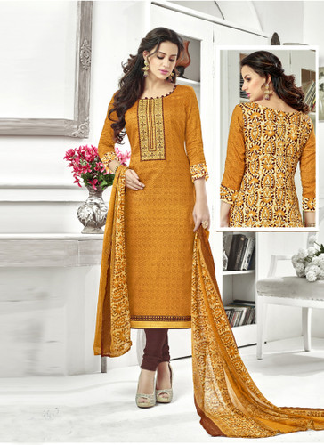 Classy & Timeless Yellow & Beige Colored Cotton Satin Suit