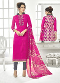 Classy & Timeless Pink & Beige Colored Cotton Satin Suit
