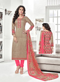 Classy & Timeless Beige & Peach Colored Cotton Satin Suit
