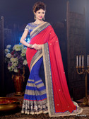 Gorgeous Designer Red & Blue Color Pure Georgette Chiffon Saree