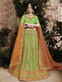 Incredibly Graceful Pista Green Colored Net Lehenga