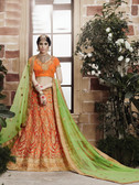 Incredibly Graceful Orange Colored Net Lehenga