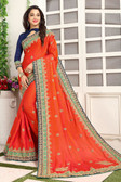 Delightful & Classy Orange Colored Crepe Silk Saree