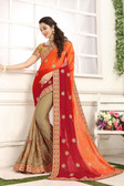 Delightful & Classy Orange & Beige Colored Crepe Chiffon Saree