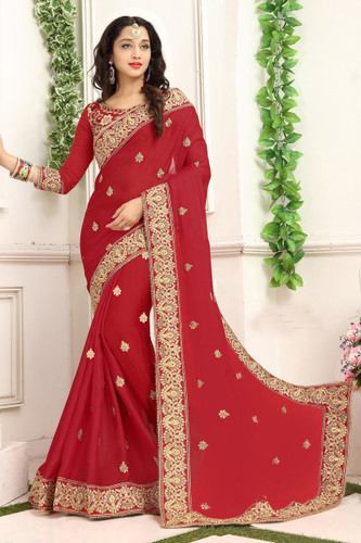 Delightful & Classy Dark Red Colored Chiffon Saree