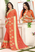 Delightful & Classy Orange Colored Chiffon Saree